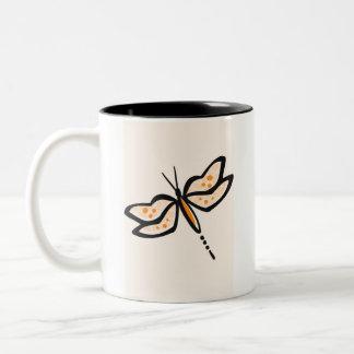 Orange Dragonfly Two-Tone Coffee Mug