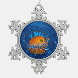 orange drenched in water-snowflake ornament