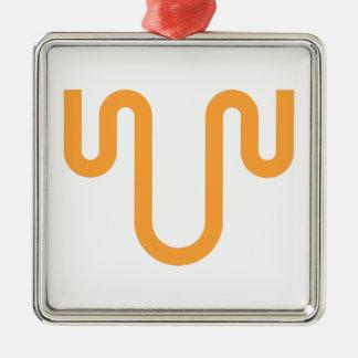 Orange Dripping Design Metal Ornament