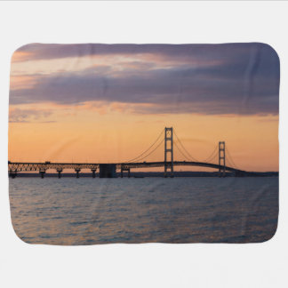 Orange Dusk Mackinac Bridge Baby Blanket
