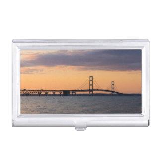 Orange Dusk Mackinac Bridge Business Card Holder