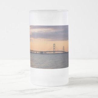 Orange Dusk Mackinac Bridge Frosted Glass Beer Mug