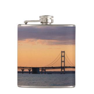 Orange Dusk Mackinac Bridge Hip Flask