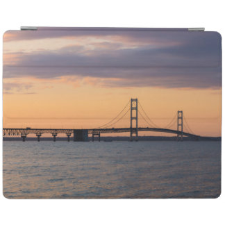 Orange Dusk Mackinac Bridge iPad Cover