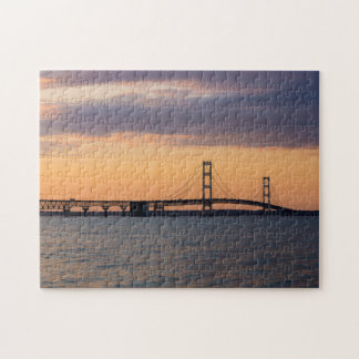 Orange Dusk Mackinac Bridge Jigsaw Puzzle