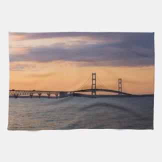 Orange Dusk Mackinac Bridge Kitchen Towel