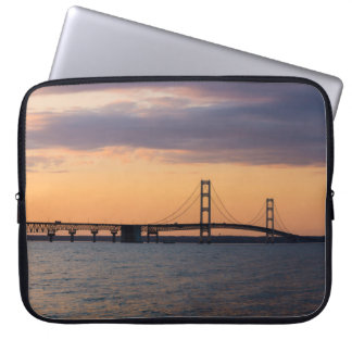 Orange Dusk Mackinac Bridge Laptop Sleeve
