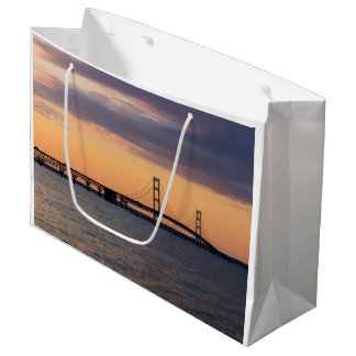Orange Dusk Mackinac Bridge Large Gift Bag