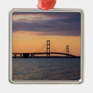 Orange Dusk Mackinac Bridge Metal Ornament
