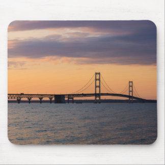 Orange Dusk Mackinac Bridge Mouse Pad