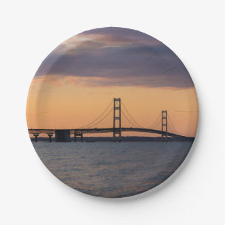 Orange Dusk Mackinac Bridge Paper Plate
