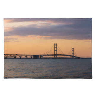 Orange Dusk Mackinac Bridge Placemat