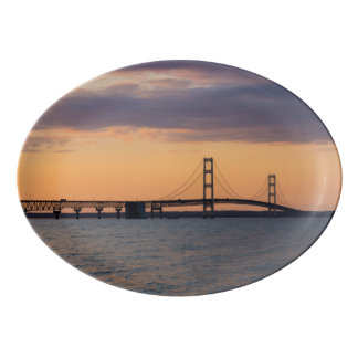 Orange Dusk Mackinac Bridge Porcelain Serving Platter