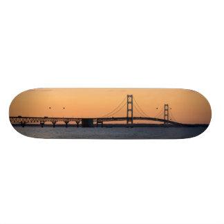 Orange Dusk Mackinac Bridge Skate Board Deck