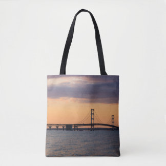 Orange Dusk Mackinac Bridge Tote Bag