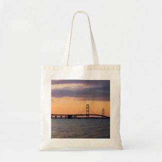 Orange Dusk Mackinac Bridge Tote Bag