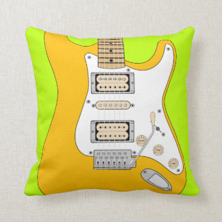 Orange Electric Guitar Throw Pillow