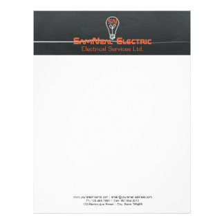 Orange electrician -logo lightbulb design letterhead