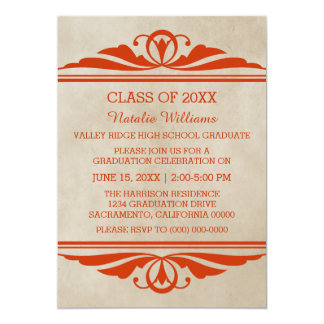 Orange Elegant Deco Graduation Invite