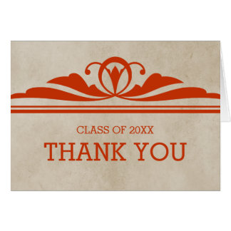 Orange Elegant Deco Graduation Thank You Card