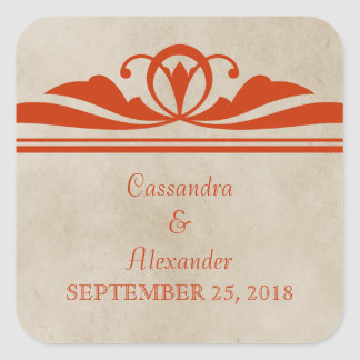 Orange Elegant Deco Wedding Stickers