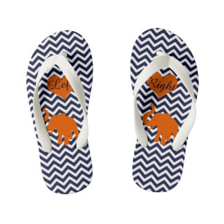 Orange Elephant With Blue Chevron Left Right Kid's Flip Flops