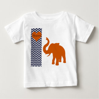 Orange Elephant With Blue Chevron Personalized Baby T-Shirt