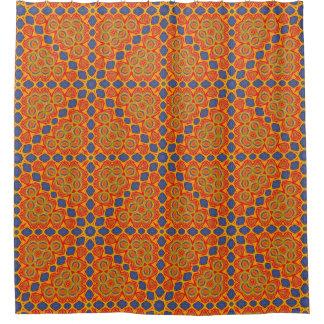 Orange et motif bleu
