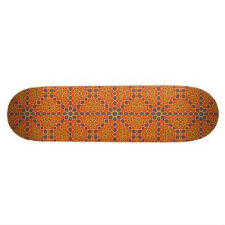 Orange et motif bleu plateaux de skateboards customisés