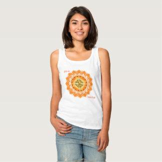 Orange ethnic sun on a vest tank top