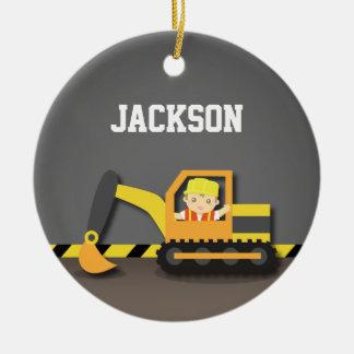 Orange Excavator Construction Boys Room Decor Ceramic Ornament