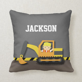 Orange Excavator Construction Boys Room Decor Pillow