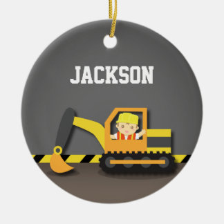Orange Excavator Construction Boys Room Decor Round Ceramic Ornament