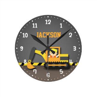 Orange Excavator Construction Boys Room Decor Round Clock