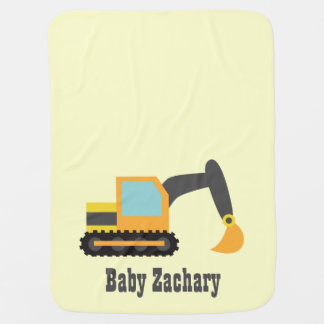 Orange Excavator, Construction Vehicle, Baby Boy Receiving Blankets