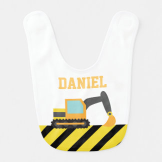 Orange Excavator, Construction Vehicle, For Babies Baby Bibs