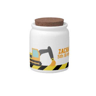 Orange Excavator, Construction Vehicle, For kids Candy Jar