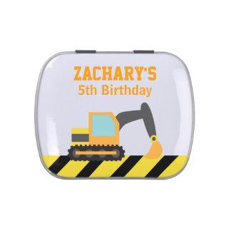 Orange Excavator, Construction Vehicle, For kids Candy Tins