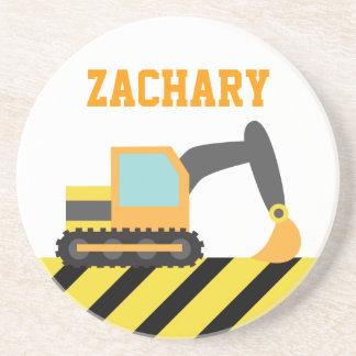 Orange Excavator, Construction Vehicle, For kids Coaster