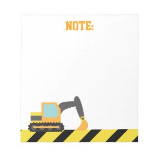 Orange Excavator, Construction Vehicle, For kids Memo Pads