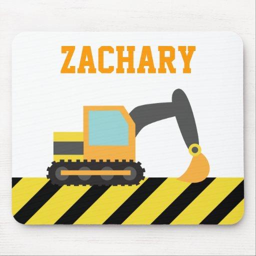 Orange Excavator, Construction Vehicle, For kids Mousepad