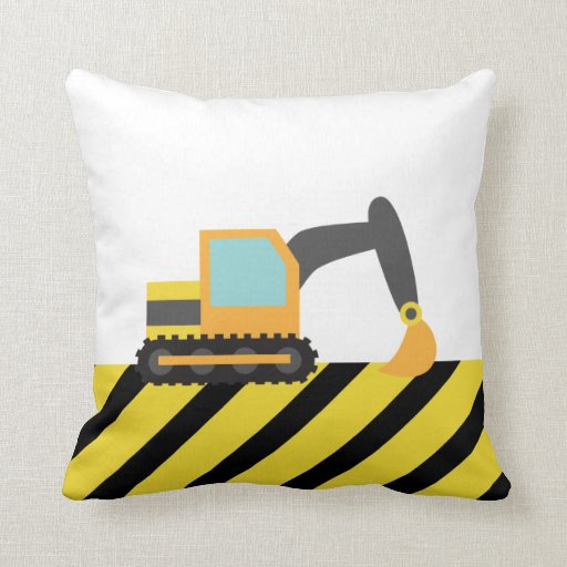 Orange Excavator, Construction Vehicle, For kids Throw Pillows