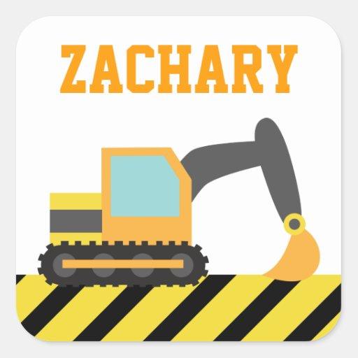 Orange Excavator, Construction Vehicle, For kids Sticker