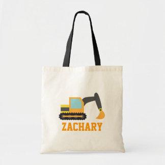 Orange Excavator, Construction Vehicles, for Kids Bag