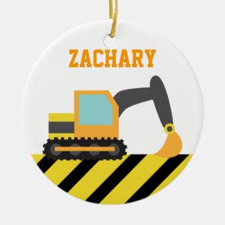 Orange Excavator, Construction Vehicles, for Kids Round Ceramic Ornament