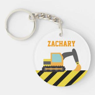 Orange Excavator, Construction Vehicles, for Kids Single-Sided Round Acrylic Keychain