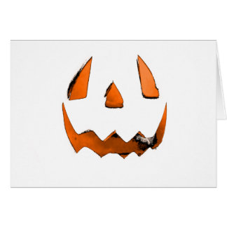 Orange Eye Jack O' Lantern Face Greeting Card