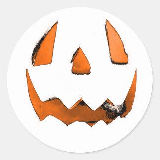 Orange Eye Jack O' Lantern Face Classic Round Sticker