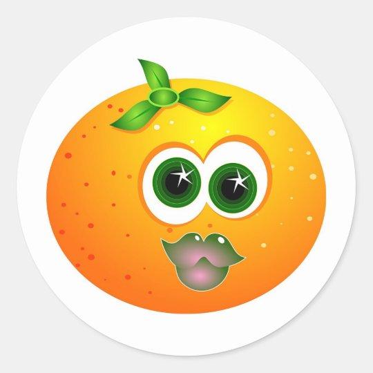 Orange Face Classic Round Sticker