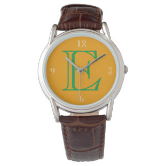 Orange Face Green White Numbers Monogram Watch